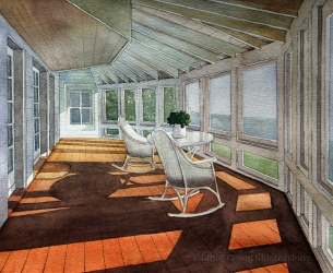 Technical Illustration, Sunlit Room, watercolor